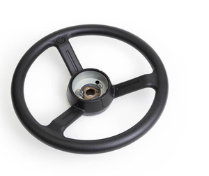 Overmolded steering wheel with soft durometer plastic resin